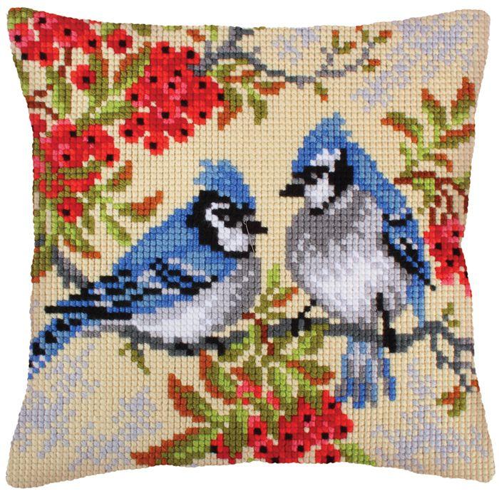 Вышивка крестом подушки с птицами 329